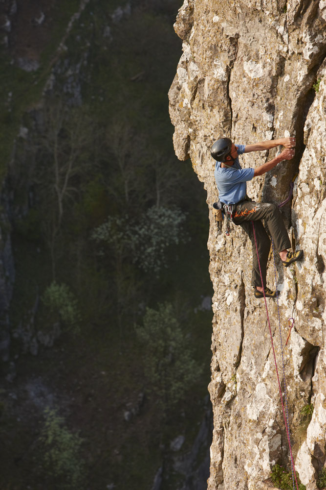 The climber, Martin Crocker, on Warlord Wall, Cheddar Gorge, Somerset, England, UK