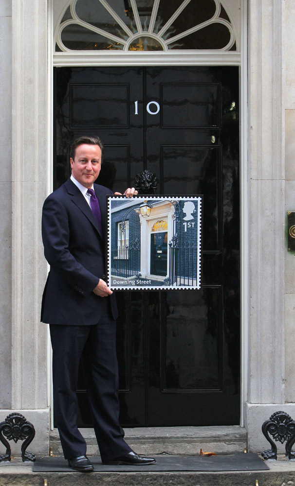 British Prime Minister David Cameron today helped Royal Mail launch its latest set of Special Stamps, UK A-Z Part One, as his iconic front door, Number 10 Downing Street, is featured on a 1st Class stamp. PRESS ASSOCIATION Photo. Picture date: Monday