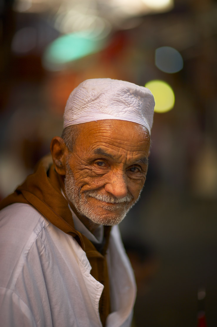A portrait of a man in the souk, Marrakech, Morocco. (NR)