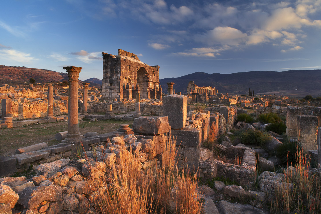 the aincient Roman ruins with the Triumphal Arch and Basilica beyond at Volubilis, Morocco