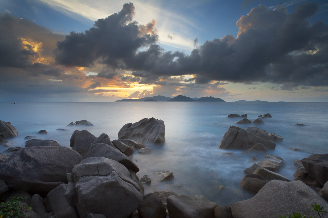 twilight over Praslin from the northern tip of La Digue, Seychelles. (NR)