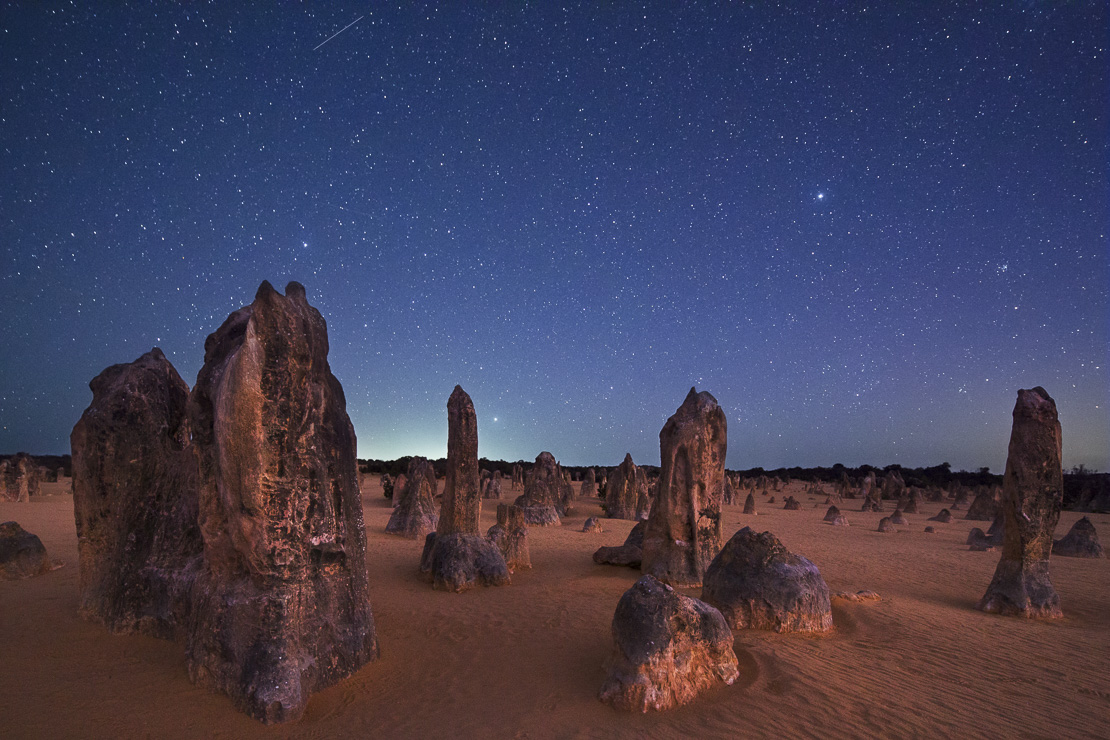 the Pinnacles at night,  limestone formations.  Nambung National Park, near Cervantes, Western Australia