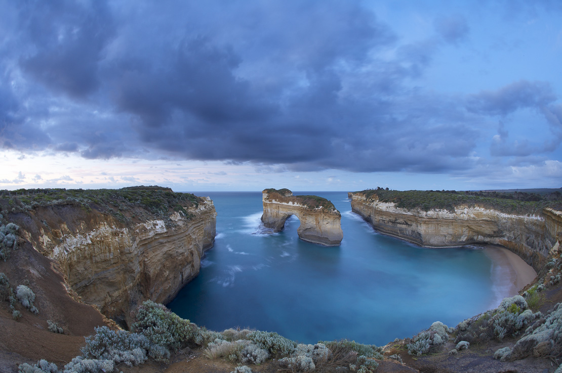window arch at Loch Ard Gorge at dawn, Port Campbell National Park, Great Ocean Road, Victoria, Australia