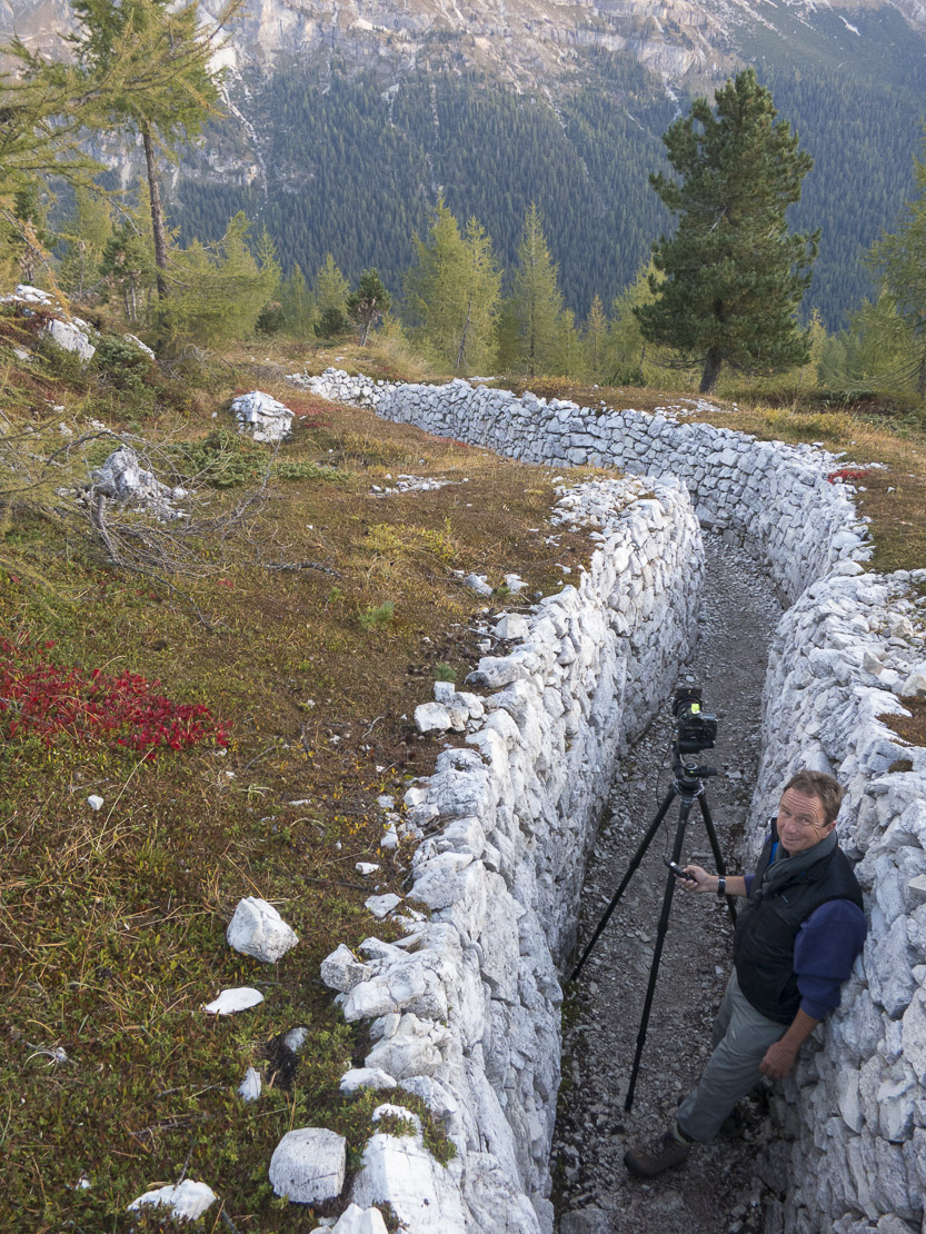 David in the World War One trenches on Cinque Torri, Dolomite Mountains,  Belluno Province, Veneto, Italy