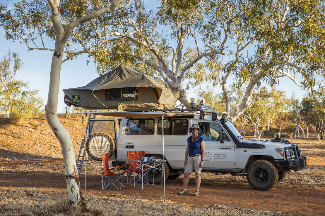 Wendy & the Troopy camping in the Outback, Western Australia