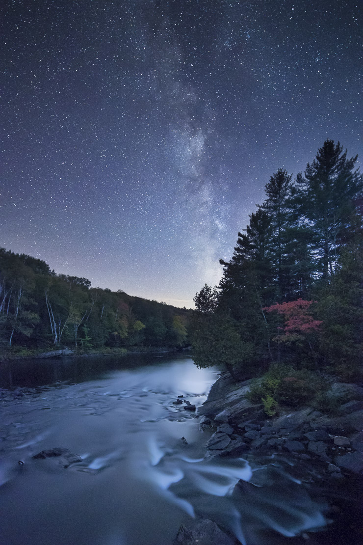 Milky Way and night sky over the Oxtongue Rapids, Muskoka, Ontario, Canada