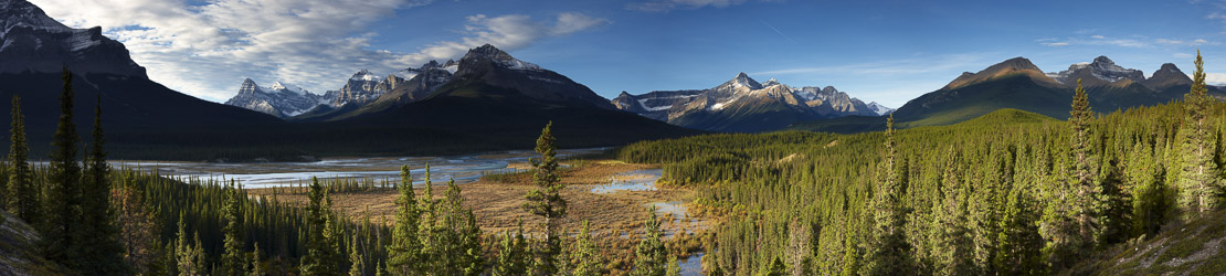 The Howse River and Waputik Mountains, Saskatchewan Crossing, Banff National Park, Alberta, Canada
