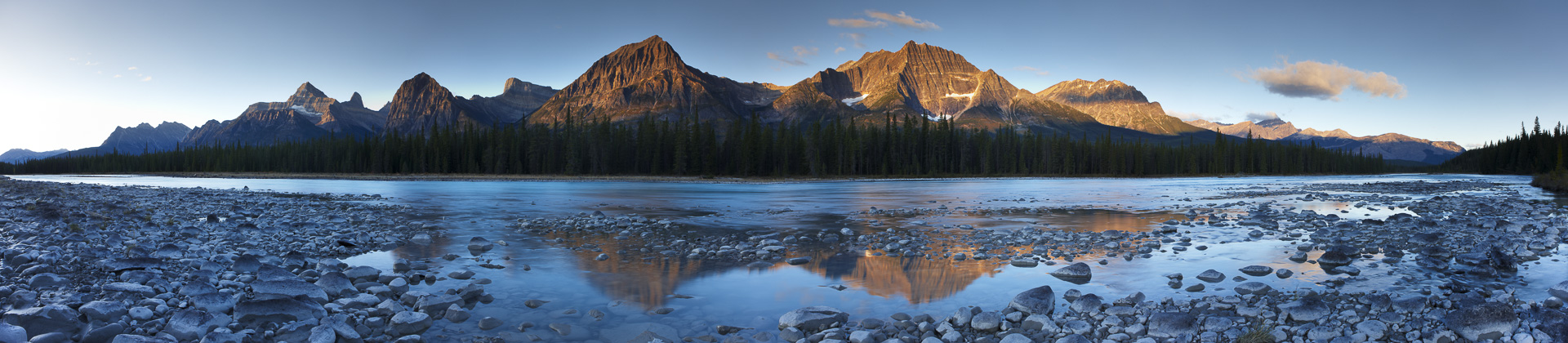 The Athabasca River with Mount Fryatt and Brussels Peak at dawn, Jasper National Park, Alberta, Canada