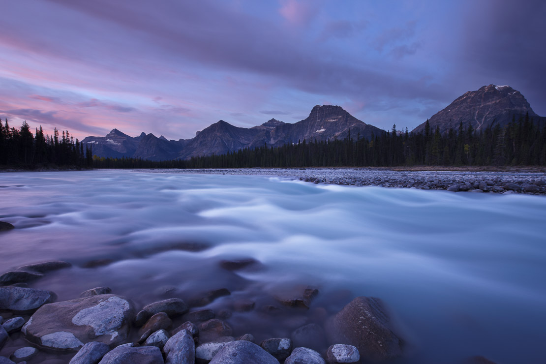 the Athabasca River with Dragon Peak and the Winston Churchill Range at dawn, Jasper National Park, Alberta, Canada