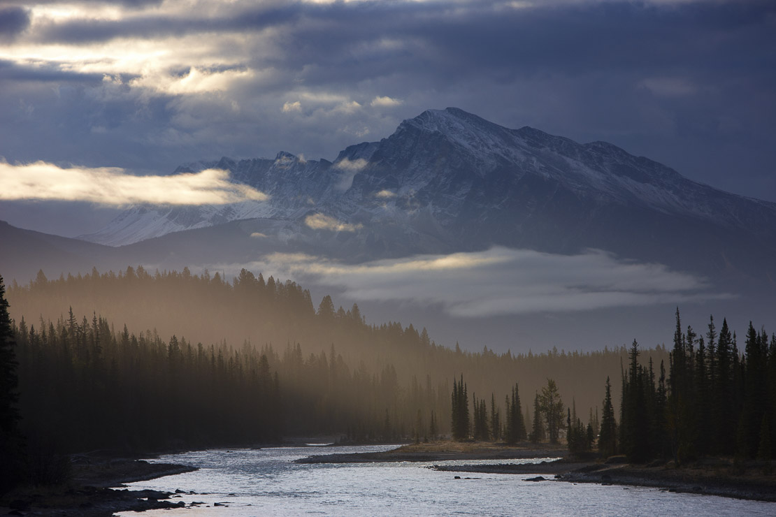 the Athabasca River and Mount Hardisty at dawn, Jasper National Park, Alberta, Canada