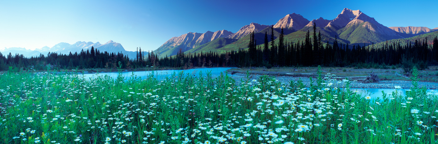 The Kootenay River and The Rockies, Kootenay National Park, British Columbia, Canada