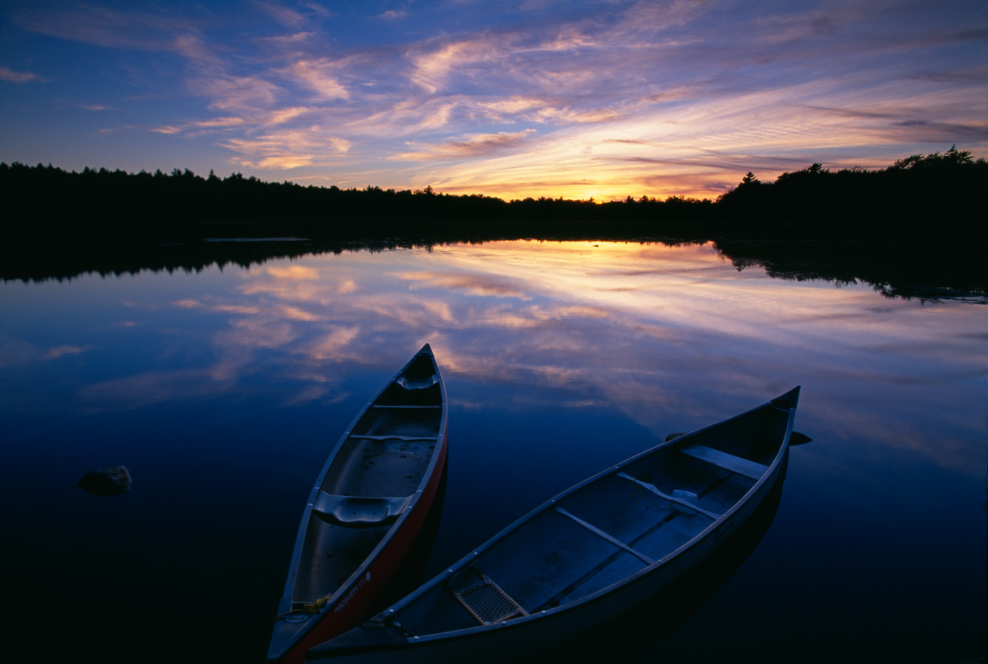 Canoes on the Mersey River, Kejimkujik National Park, Nova Scotia, Canada