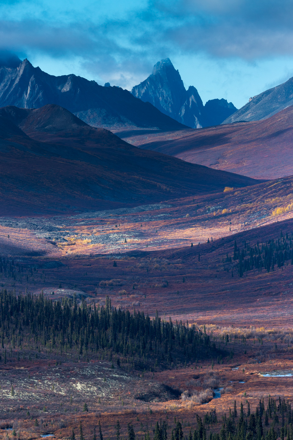 Tombstone Pass and the upper valley of the North Klondike River in autumn, Tombstone Territorial Park, Yukon Territories, Canada