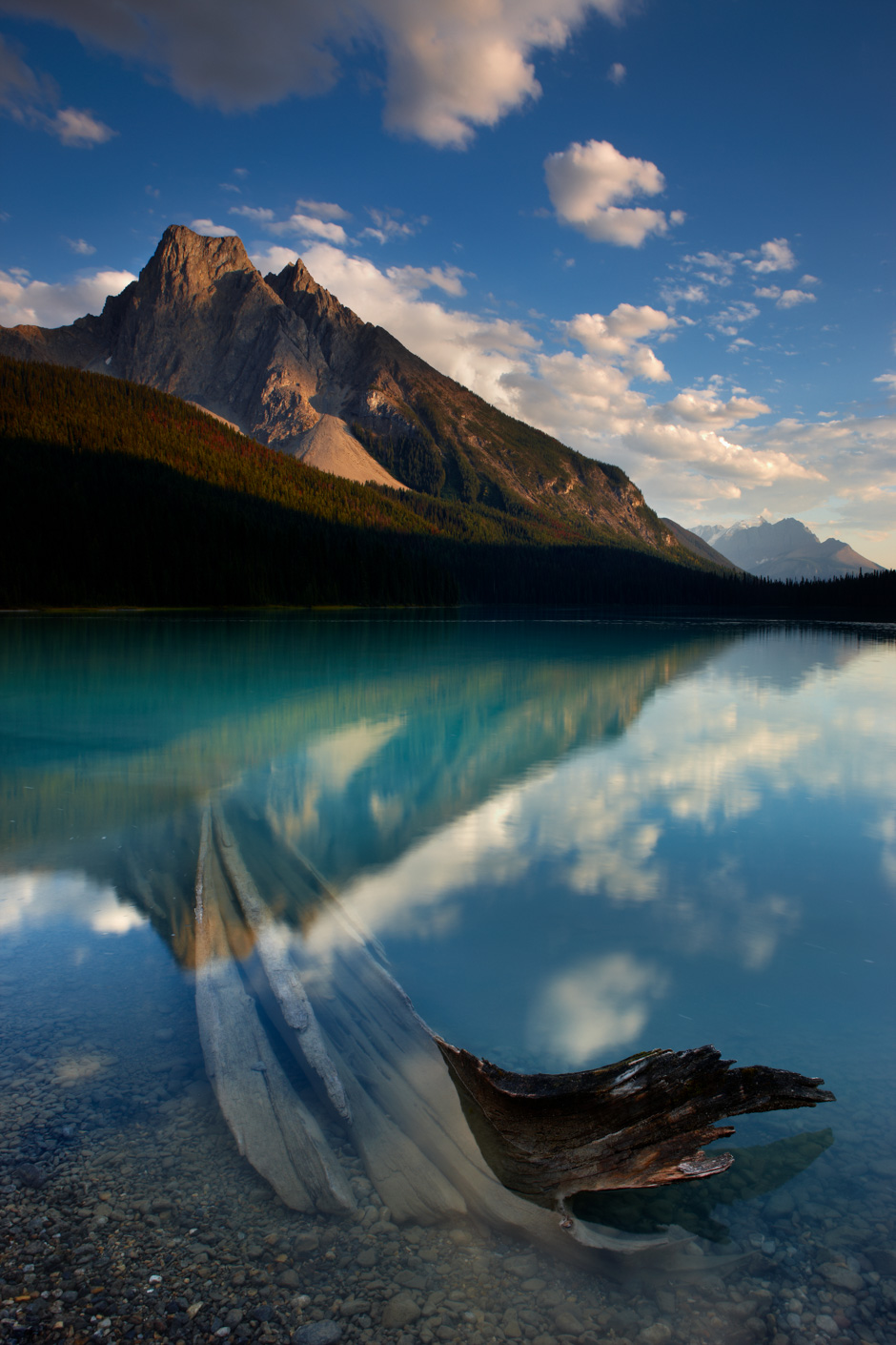 Emerald Lake at dusk with the peak of Mount Burgess beyond, Yoho National Park, British Columbia, Canada