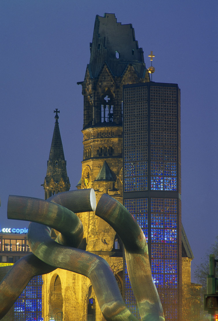 the Memorial Church at night, Berlin, Germany