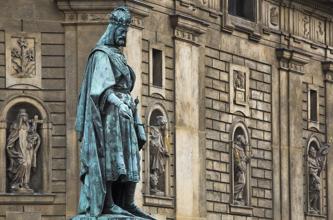 statue of King Charles IV, Knights of the Cross Square, Old Town, Prague