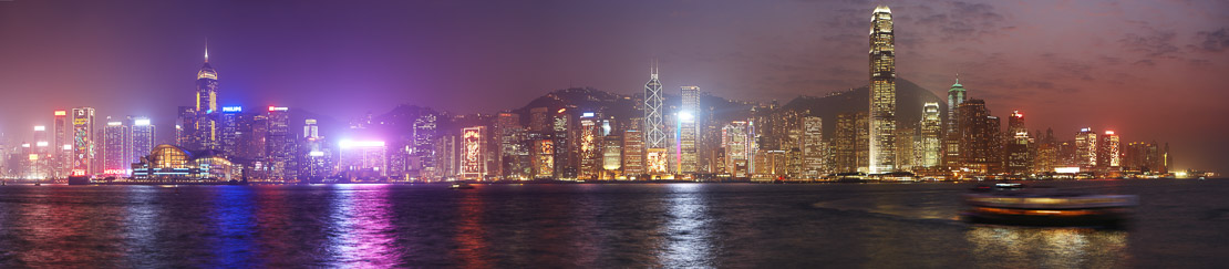 Victoria Harbour and the skyline at night, Hong Kong, China