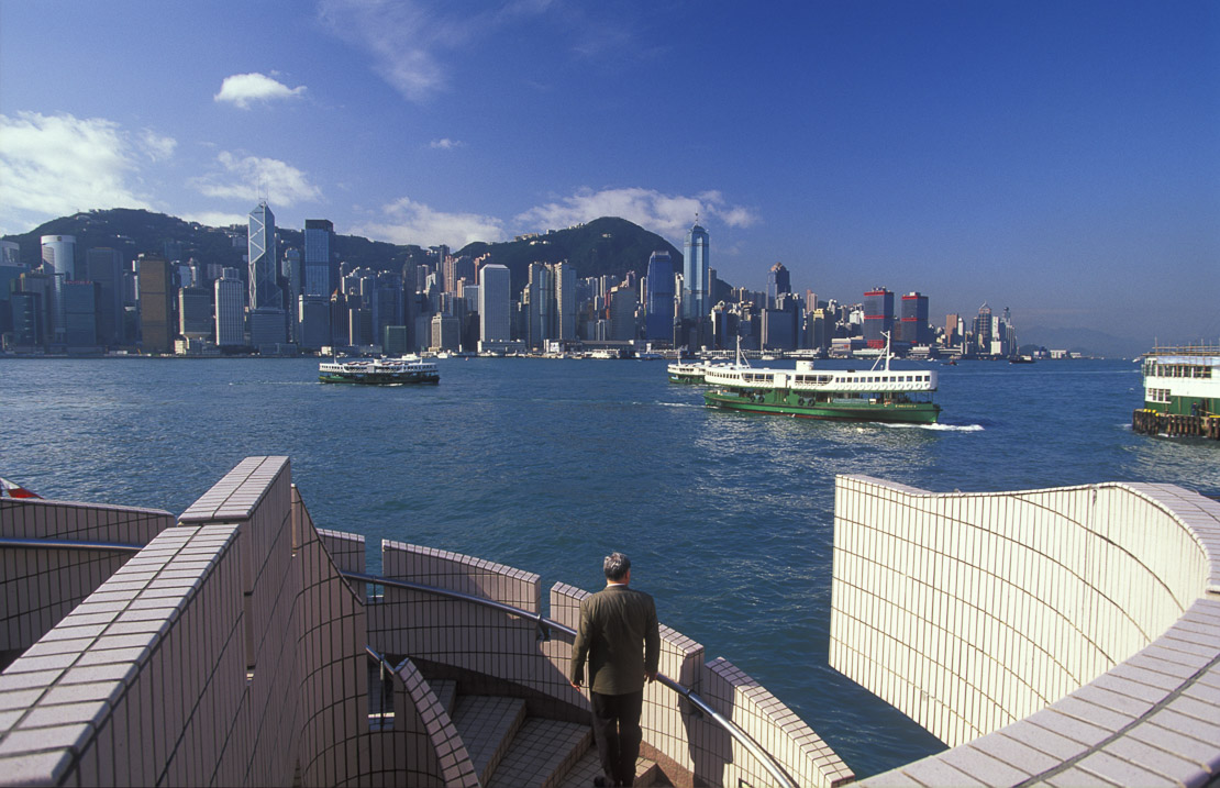 the skyline from Kowloon with Star Ferries, Hong Kong, China