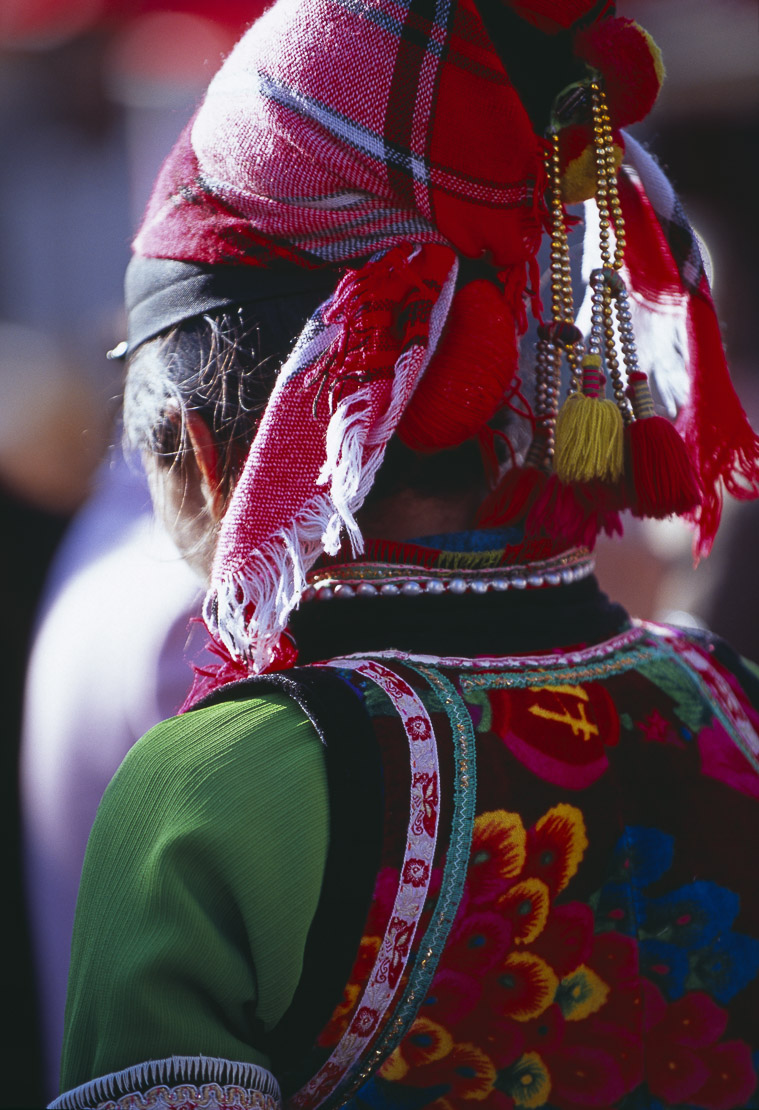 detail of Bai woman's costume, Wase market, Er Hai Lake, nr Dali, Yunnan, China