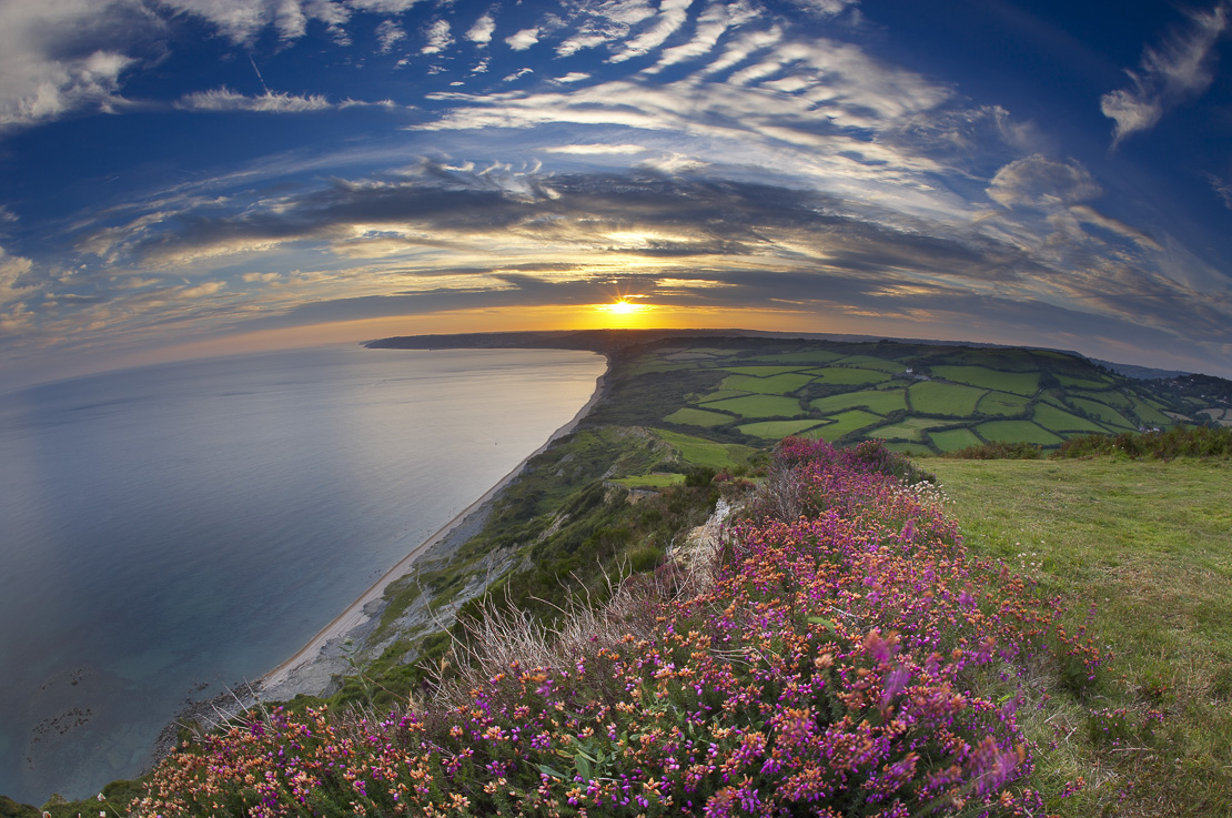 sunset over the Jurassic Coast from the Golden Cap, Dorset, England, UK. (NR)