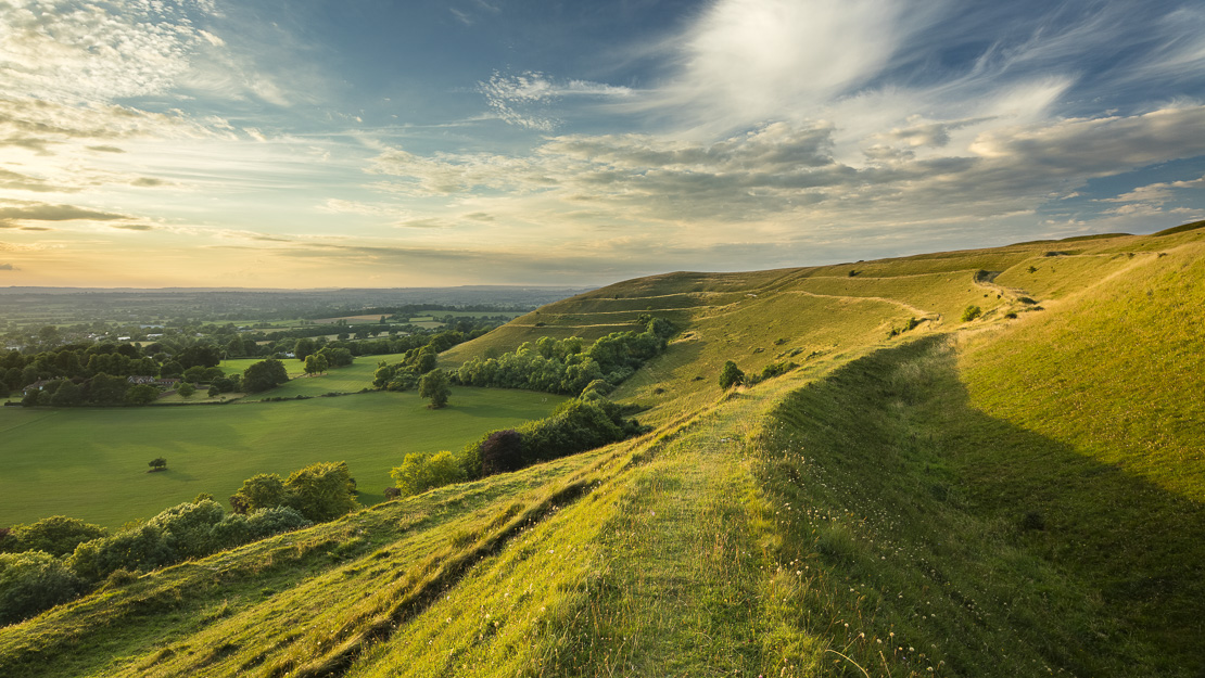 The ramparts of the Iron Age hill fort of Hambledon Hill, nr Blandford Forum, Dorset, England, UK