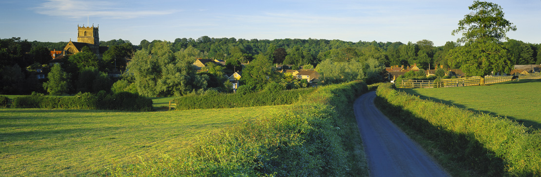 the road to Milborne Port on a summer's evening, Somerset, UK
