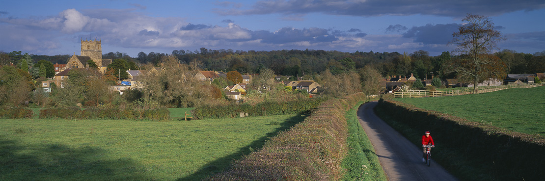 the road to Milborne Port on a Autumn evening, Dorset, England, UK