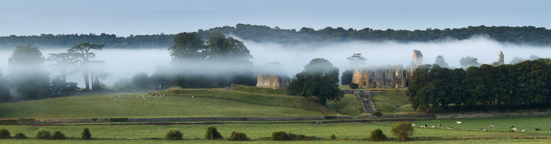 Old Sherborne Castle in the mist at dawn, Dorset, England