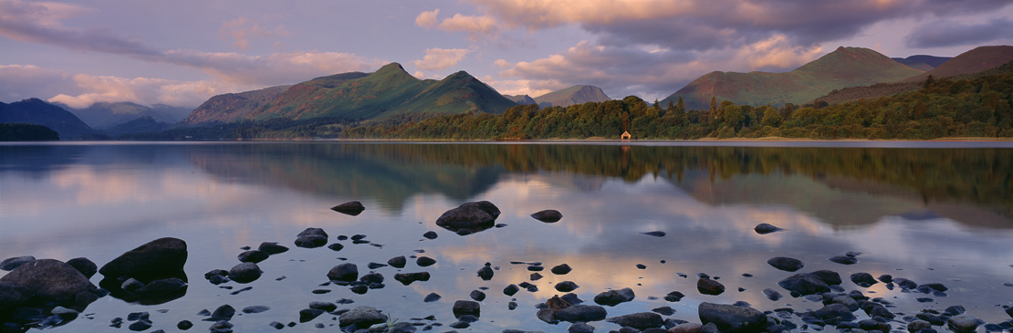 The Cat's Bells and Derwentwater at dawn from nr Keswick, Lakes District, Cumbria, England, UK