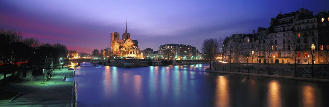 Notre Dame Cathedral and the Isle de la Cite at Night, Paris, France