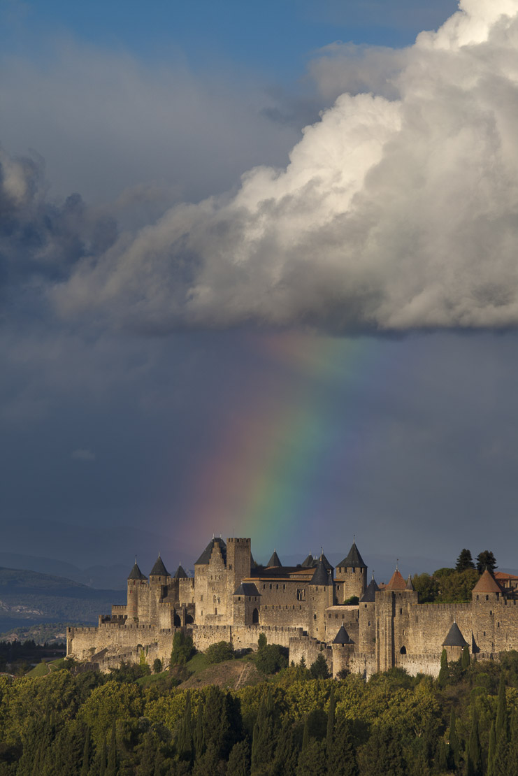 a rainbow over the fortified Cité of Carcassonne, Languedoc, France