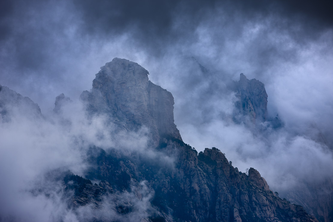 rain clouds hanging over the Col de Bavella, Bavella Mountains, Corsica, France