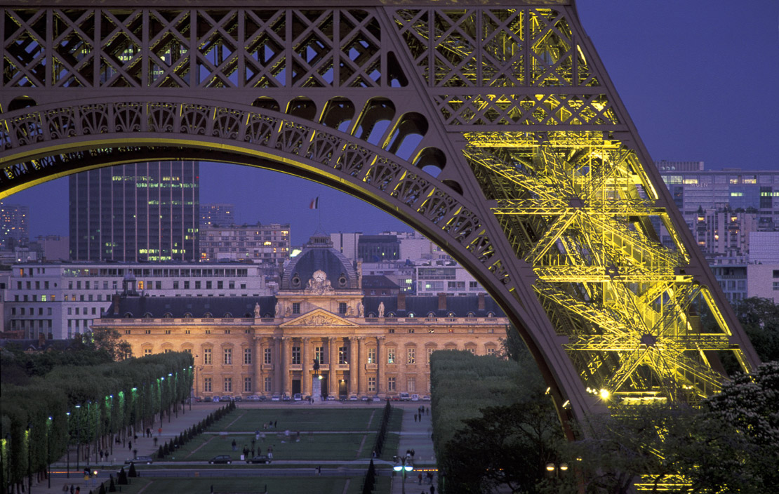 Eiffel Tower & Ecole Militaire at Night, Paris, France