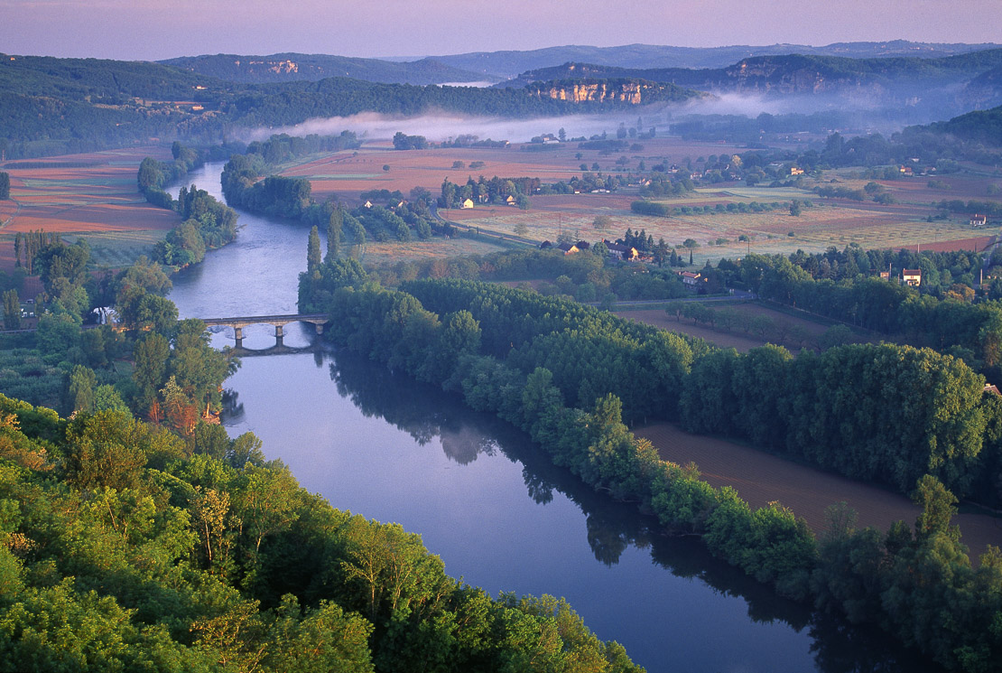 the Dordorgne River at dawn from Domme, Perigord, France. (NR)