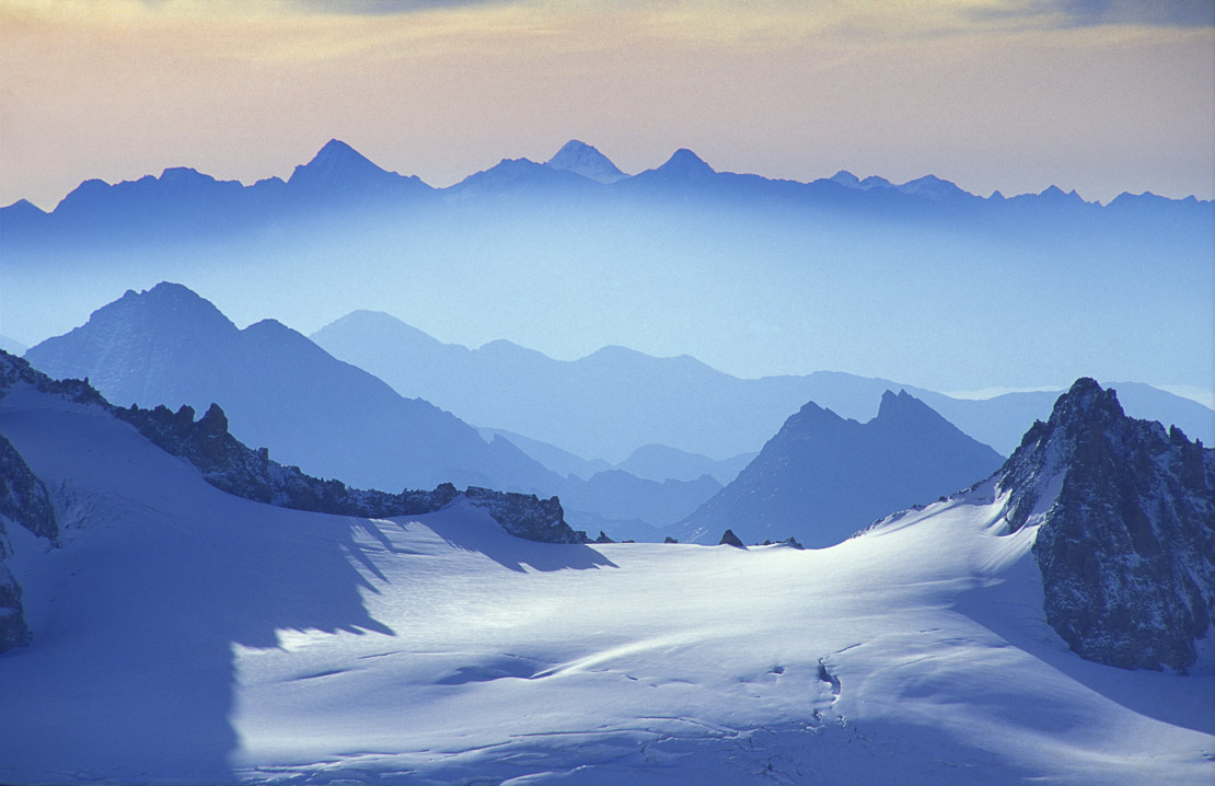 the Alps from the Aiguille du Midi, Mt Blanc, nr Chamonix, Savoie, France