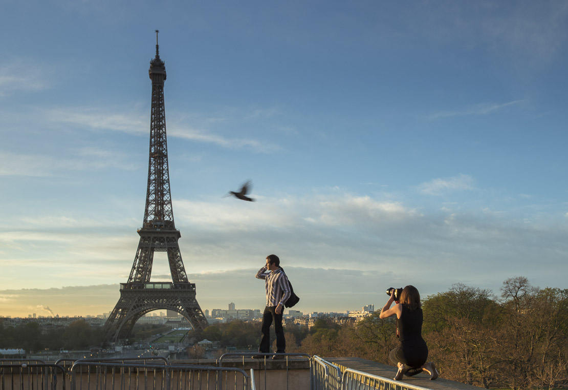 fashion photography at the Palais de Chaillot with the Eiffel Tower as backdrop, Paris, France