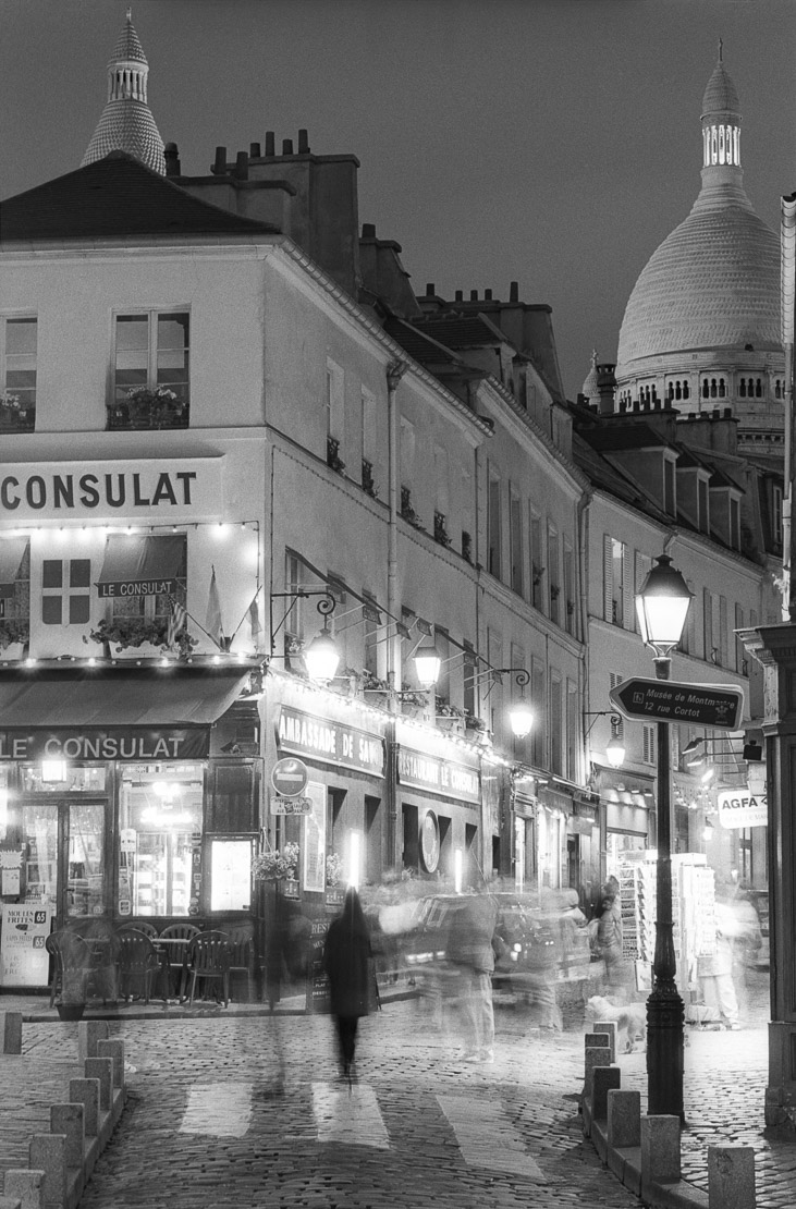 cafe/street scene/ Sacre Couer at night, Montmarte, Paris, France