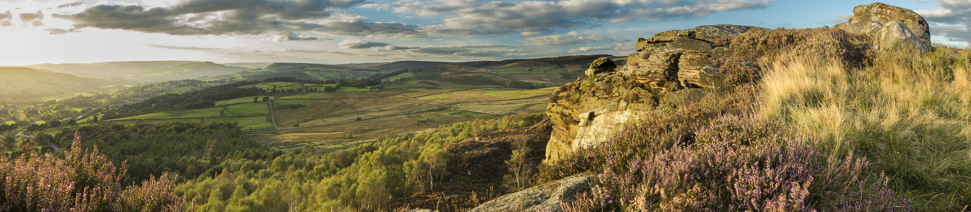 Callow Bank & Stanage Edge from Millstone Edge, nr Hathersage, Derbyshire Peaks District National Park, England, UK
