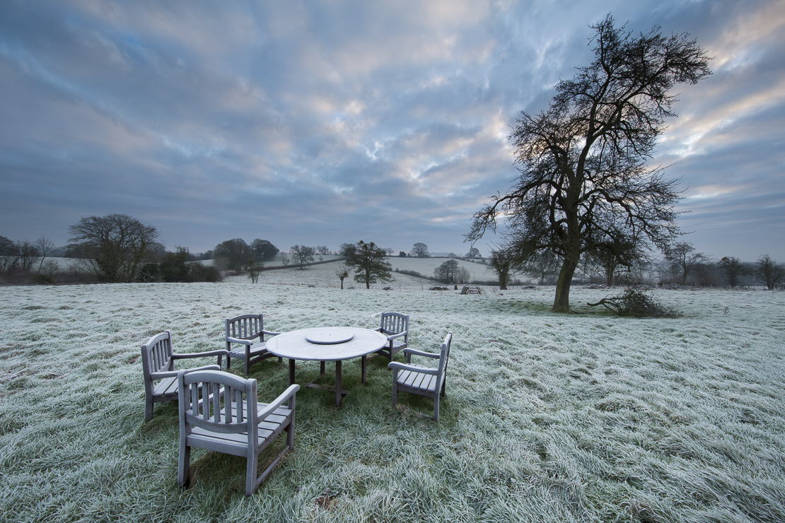 Table for 5; a frosty dawn in Shropshire, England
