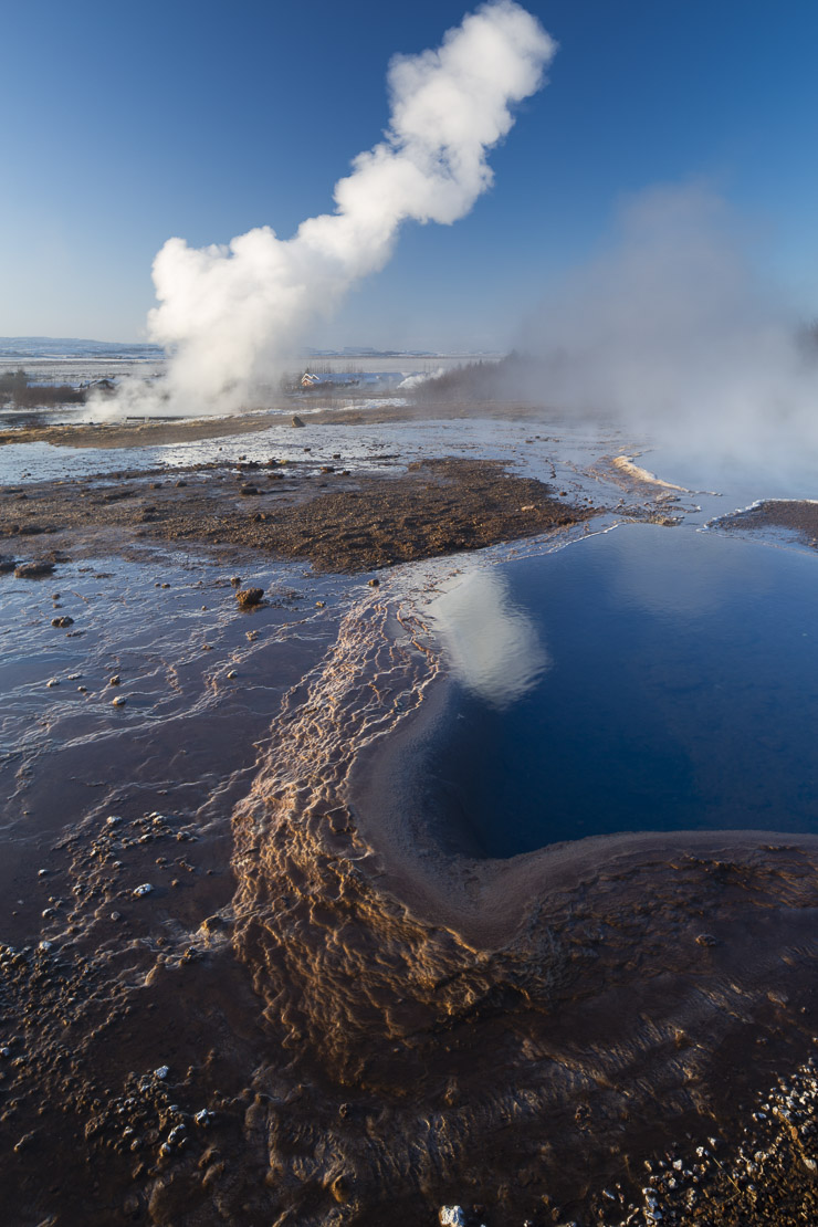 the hot springs and geysers at Geysir, Iceland