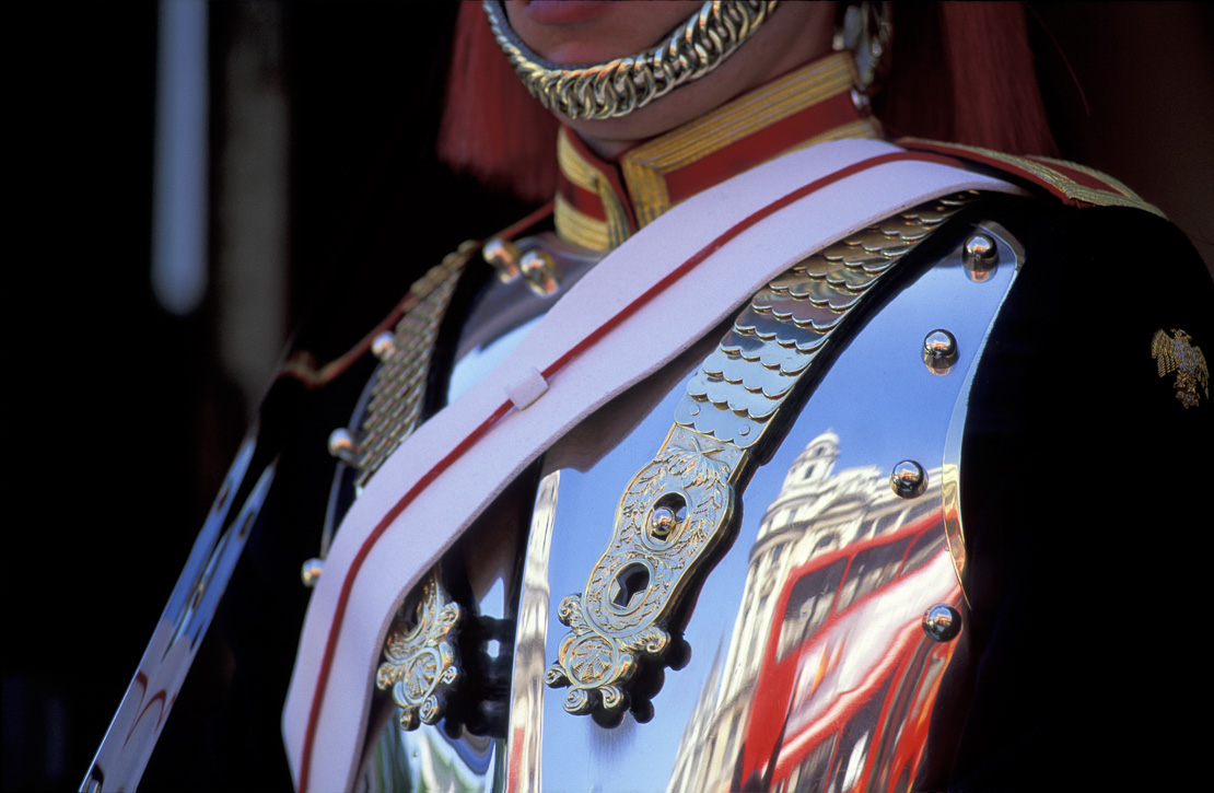 Detail of Blues & Royals Household Calvalry Trooper on Guard, Horseguards, Whitehall, London, England, UK