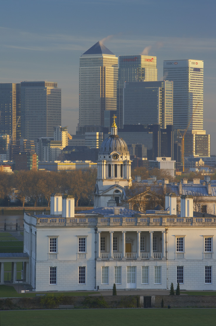 the National Maritime Museum (the Queen's House), Old Royal Naval College and the skyline of Canary Wharf, Greenwich, London, England, UK