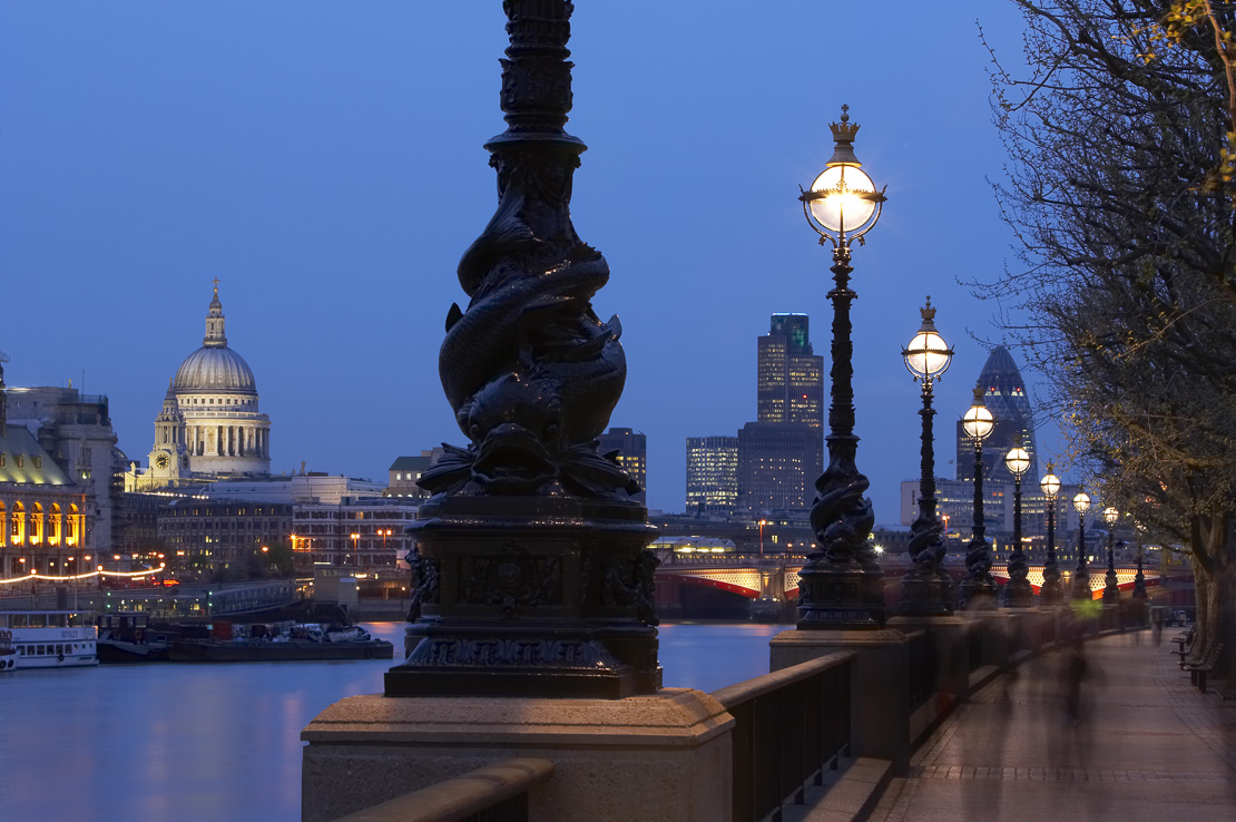 St Paul's & the city skyline from the south bank of the Thames, nr the National Theatre at night, London, England, UK