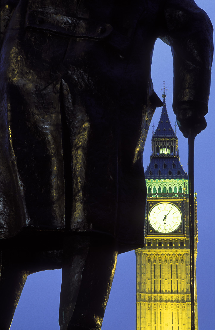 statue of Winston Churchill in Parliament Square/ Big Ben, Palace of Westminster, London,  England, UK