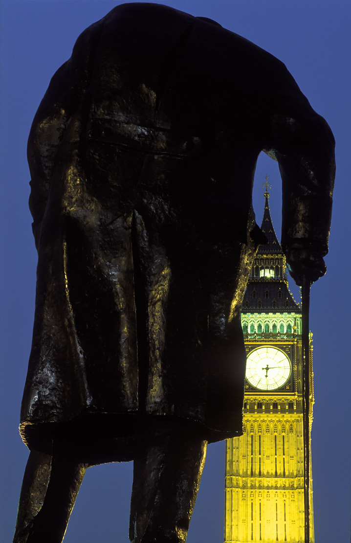 statue of Winston Churchill in Parliament Square/ Big Ben, Palace of Westminster, London, UK