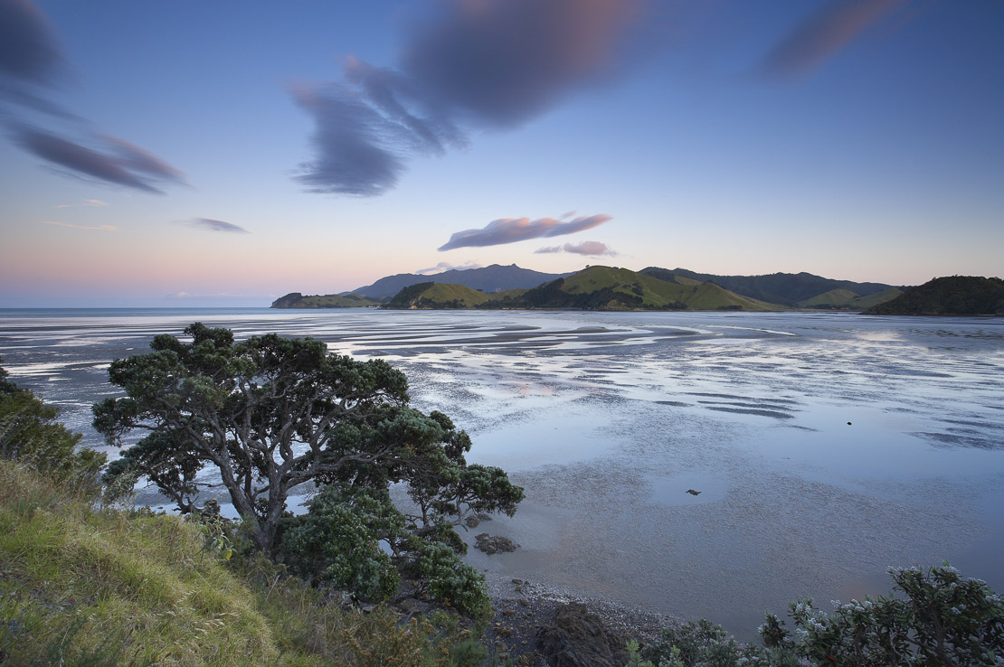 Mt Moehau and Colville Bay at dawn, Coromandel Peninsula, North Island, New Zealand. (NR)