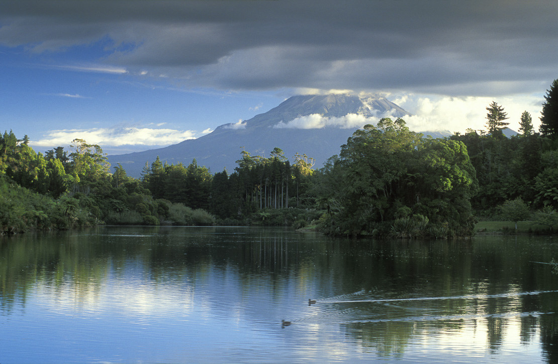 Lake Mangamahoe with Mount Egmont, North Island, New Zealand