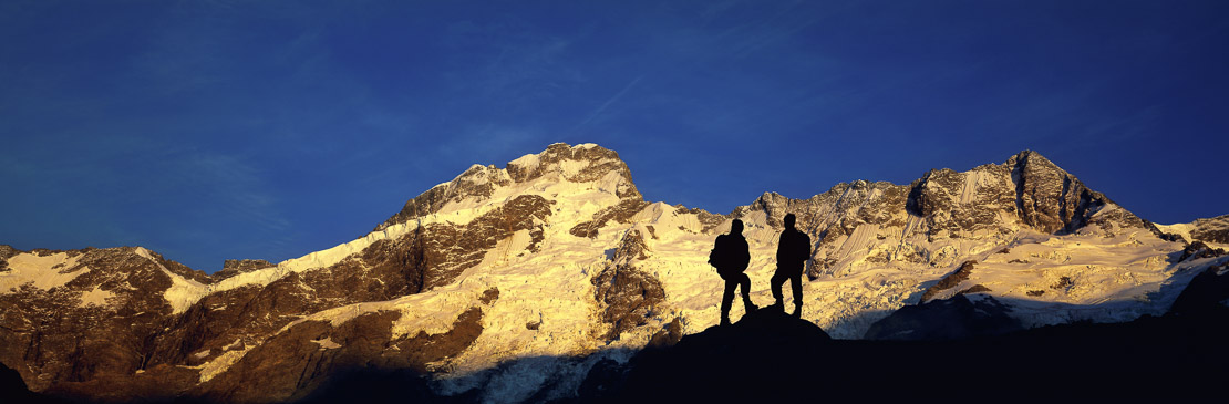 hikers near Mount Cook, Aoraki National Park, South Island, New Zealand