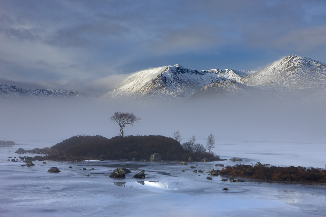 Lochan na h-Achlaise & the Black Mount in winter, Argyll and Bute, Scottish Highlands, Scotland, UK