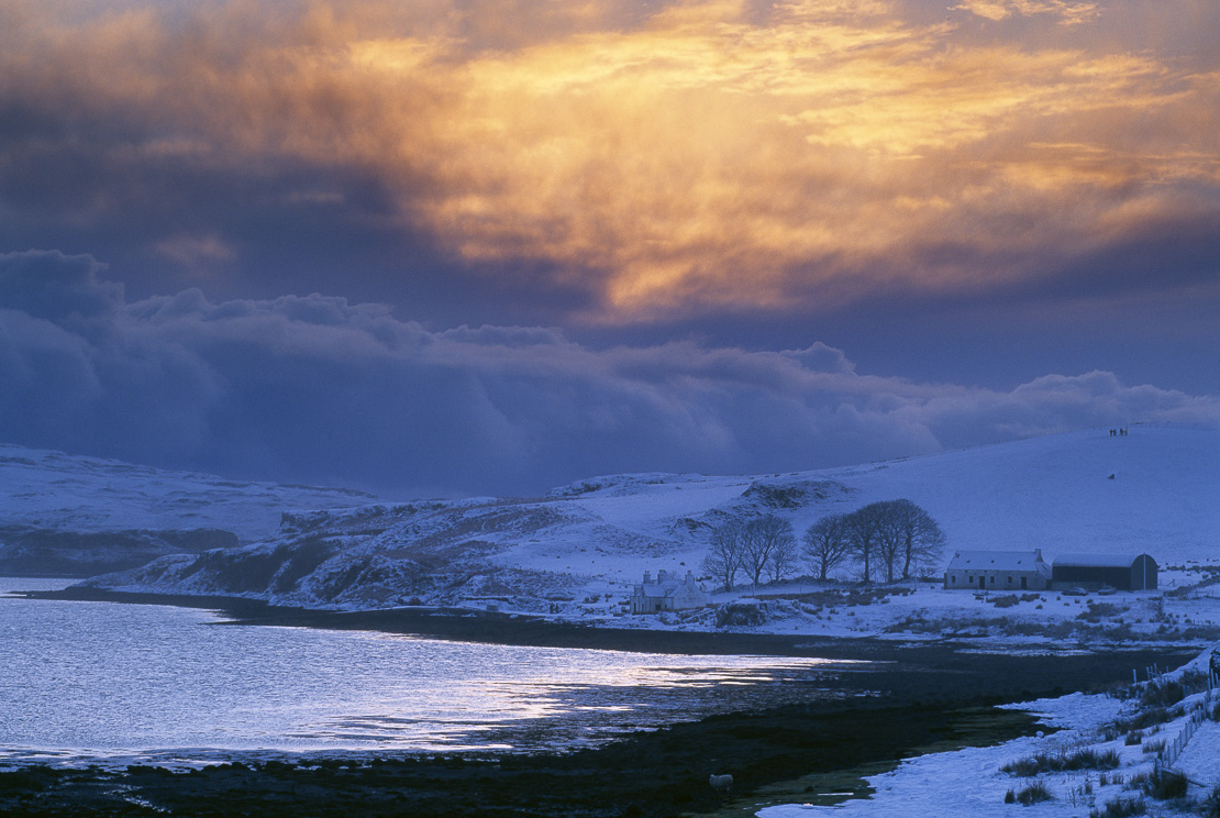 snow on the shore at Loch Beag, Isle of Skye, Scotland, UK